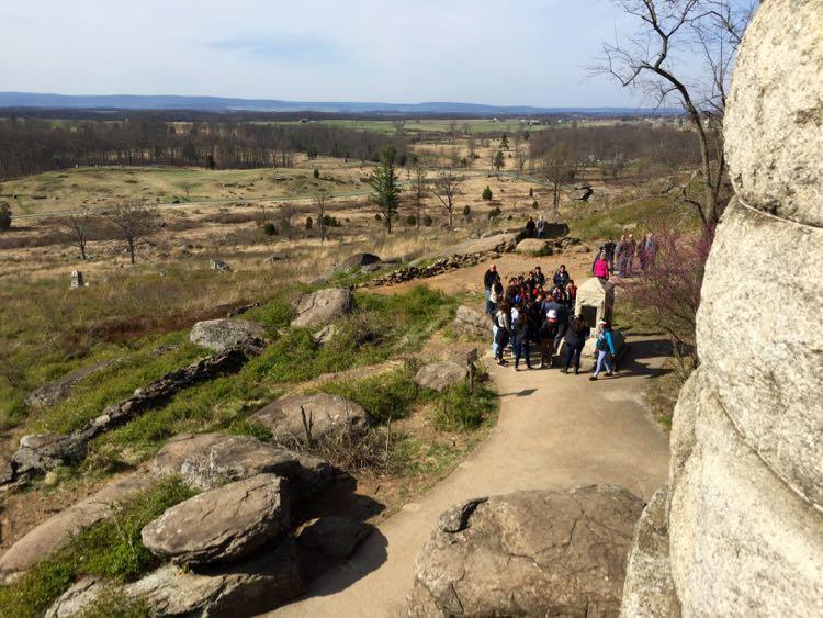 Tour group Little Round Top Gettysburg NMP