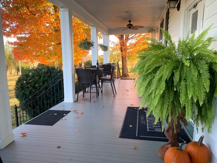 Effingham Manor Winery porch is especially beautiful in fall