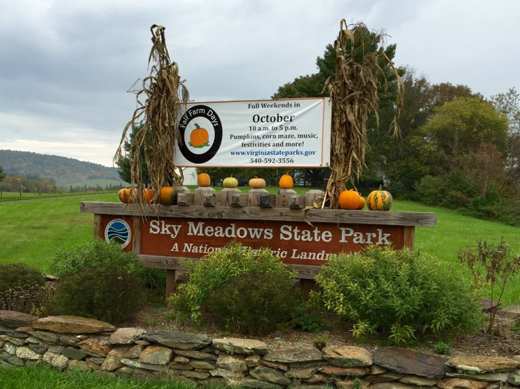 Sky Meadows State Park sign