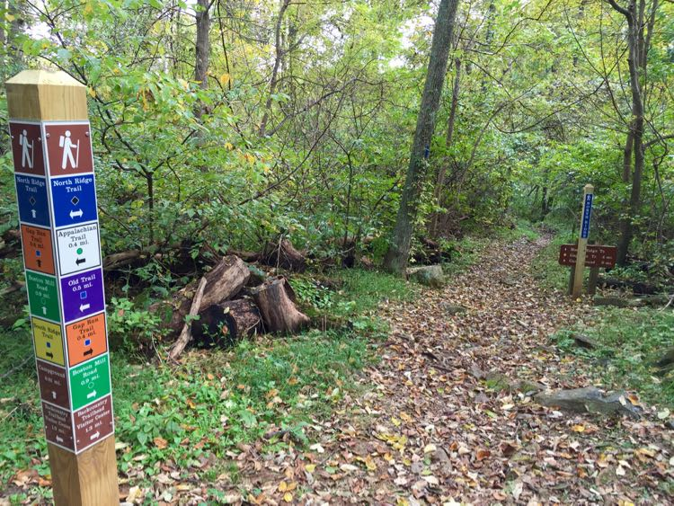 Trail marker Sky Meadows Virginia