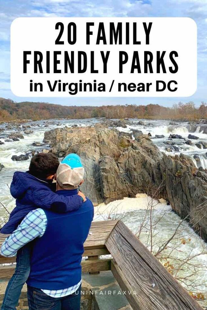 20 family friendly parks in Virginia for fun things to do with kids near Washington DC.