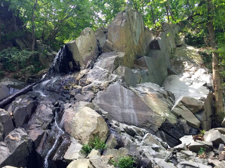 Rock jumble and waterfall, Windy Run hike