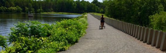 Stroller-friendly trail over the dam at Burke Lake Park VA