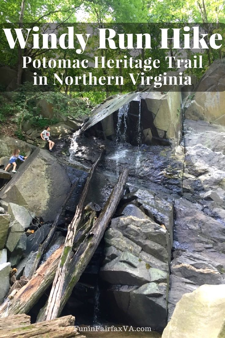 The Windy Run hike offers nice river views, a rock jumble, and a small waterfall, on a Virginia segment of the Potomac Heritage Trail close to DC.