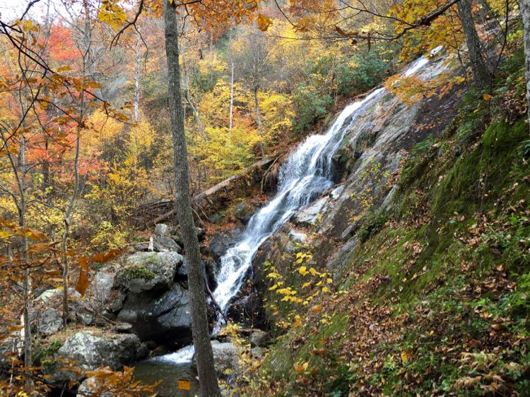 Crabtree Falls cascade, fall hikes in Virginia