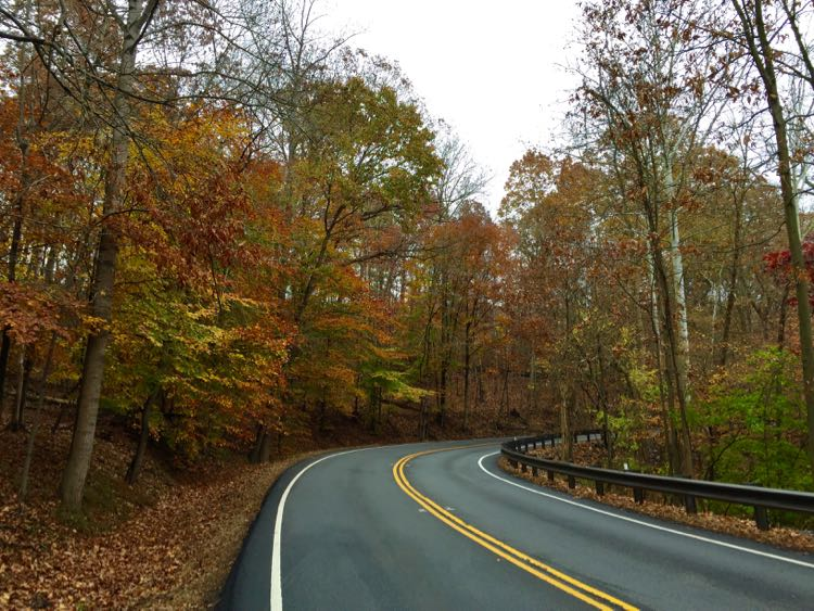 Fall colors on a Georgetown Pike scenic drive near Washington DC