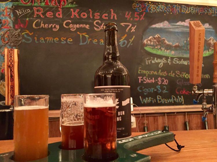 Sampling craft beer at Crooked Run Brewing Leesburg Virginia
