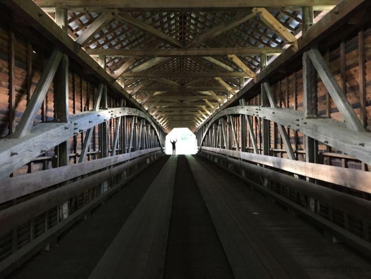 Meems Bottoms covered bridge interior Shenandoah Valley north