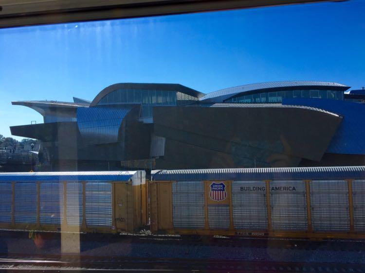 Train and art museum view Roanoke Virginia