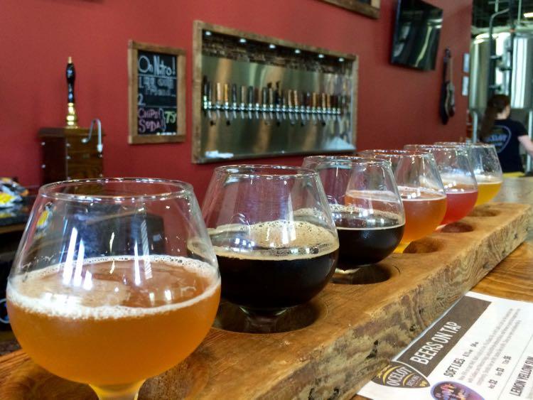 Beer flight at Ocelot Brewing in Ashburn Virginia