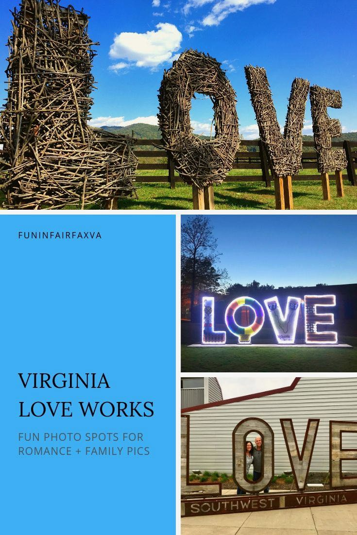 Virginia LOVE works are perfect photo spots for a romantic moment, group outing, or family fun.