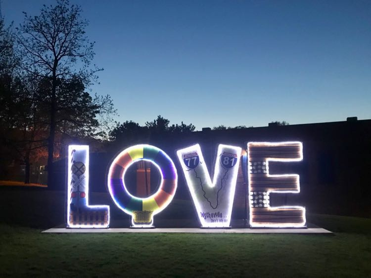 The LOVE sign is illuminated at night in Wytheville, SWVA