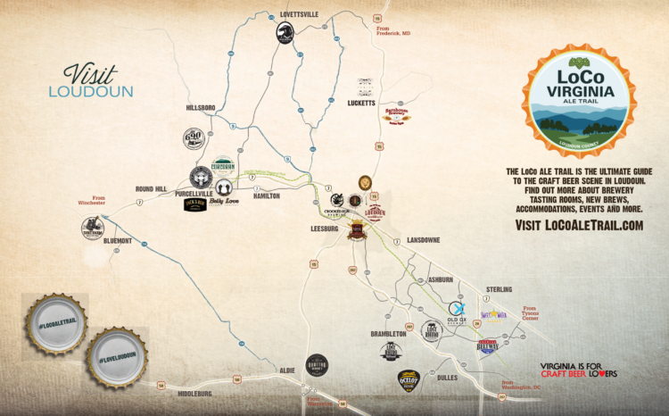 LoCo Ale Trail map from Visit Loudoun