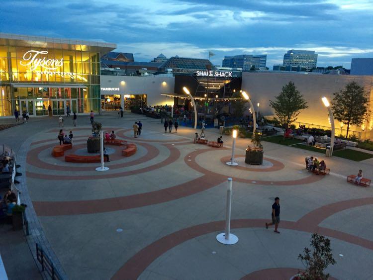 Tysons Corner Center Plaza at night