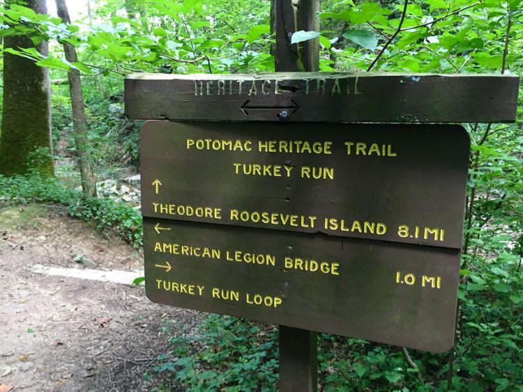 Potomac Heritage Trail sign at Turkey Run