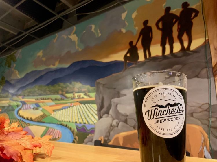Winchester Beer Works beer and mural