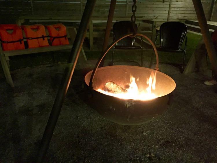 Fire in the cauldron Dogfish Inn'