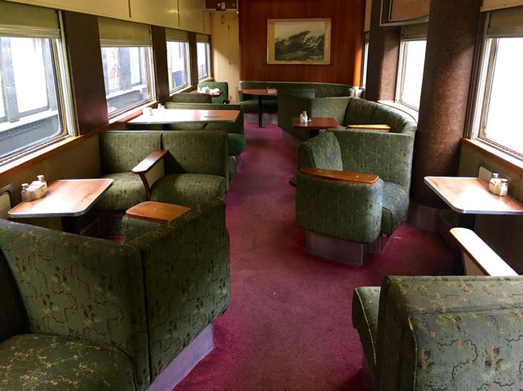 Classic Chessie dining car on the Potomac Eagle train in Hampshire County WV