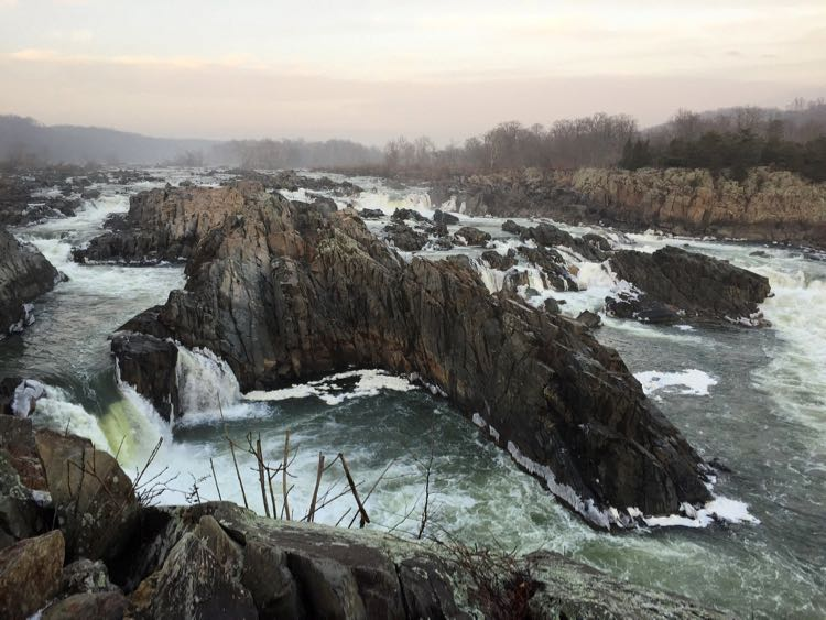 Great Falls Park Virginia winter sunset