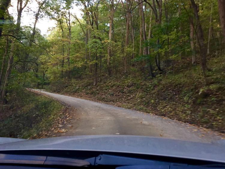 The steep road to Woodstock Tower in Woodstock VA
