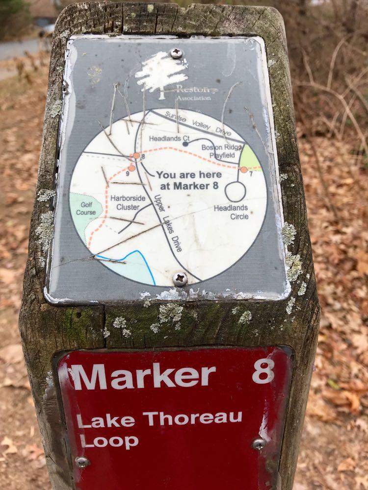 Lake Thoreau Loop Trail marker Reston VA