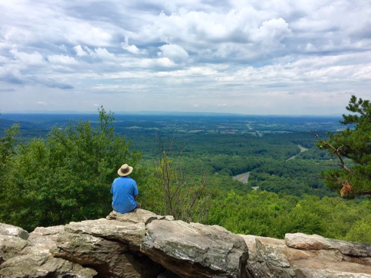 Relaxing during a Bears Den Overlook hike in Bluemont Virginia