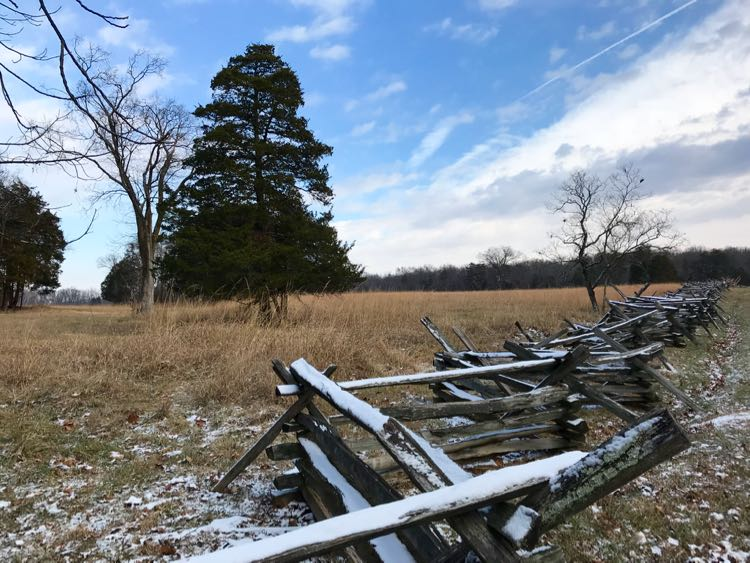 Snowy fence Manassas Battlefield Virginia