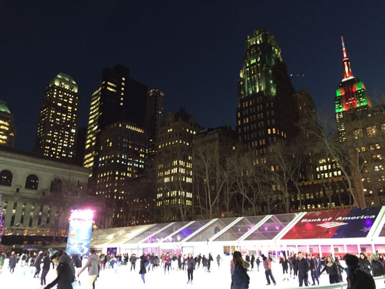 Bryant Park ice skating New York City NY