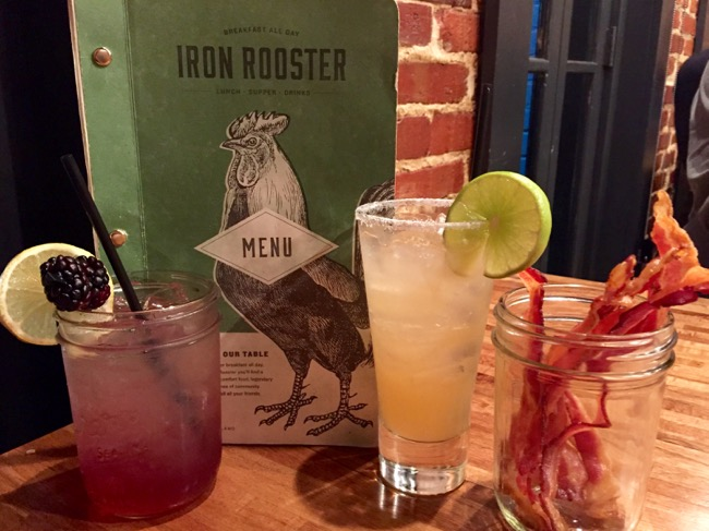 Drinks and bacon at Iron Rooster