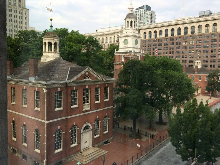 Philadelphia PA Independence Hall view from Kimpton Hotel Monaco