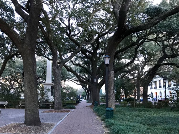 Leafy square in Savannah Georgia