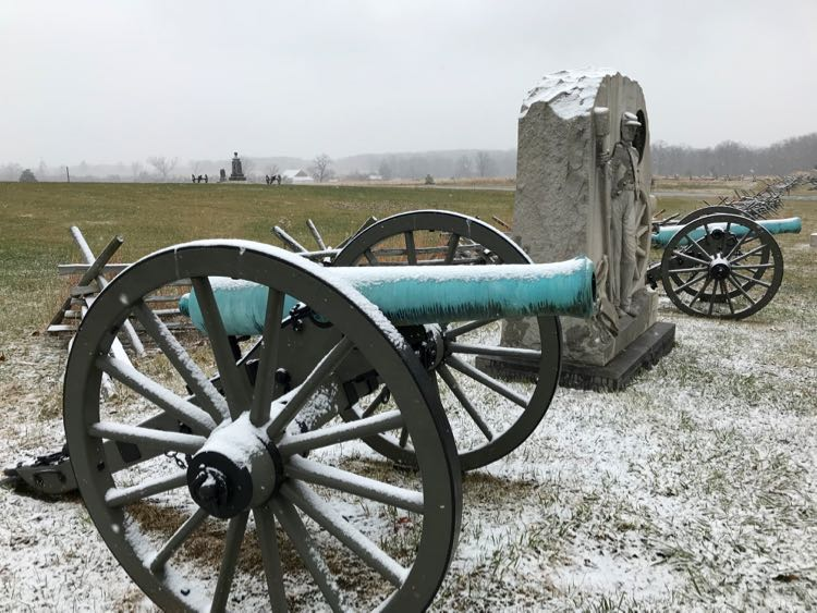 Winter at the battlefield in Gettysburg Pennsylvania