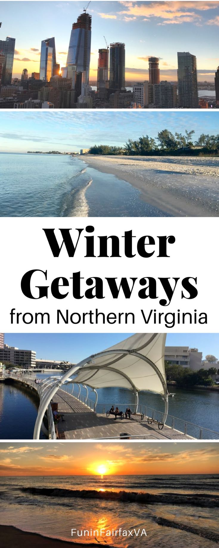 USA Travel. Winter Getaways from Northern Virginia and Washington DC by plane, train, and automobile.