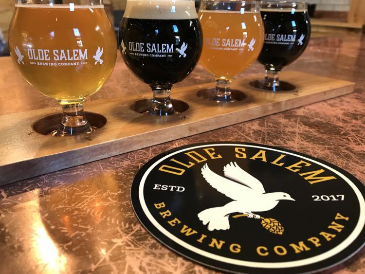 Old Salem Brewing flight Virginias Blue Ridge Beerway