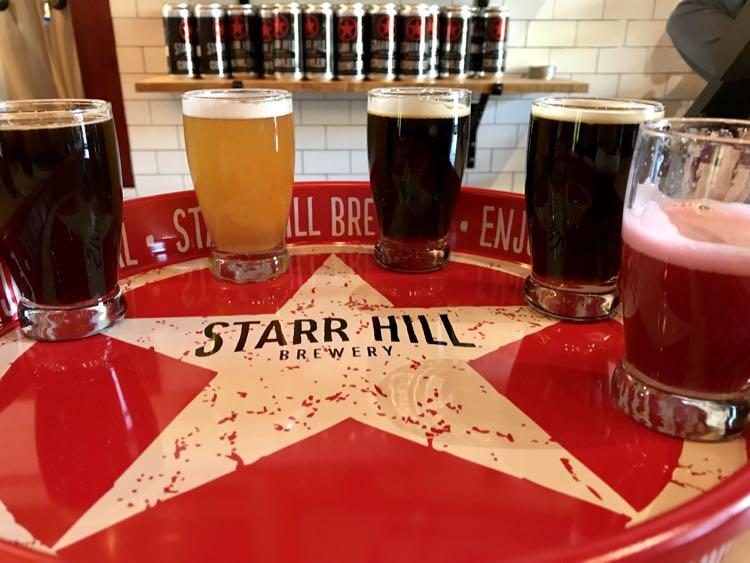 Starr Hill Brewery flight Virginia's Blue Ridge Beerway