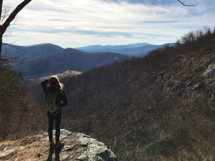 Taking in the view Big Devils Stairs hike Shenandoah Virginia
