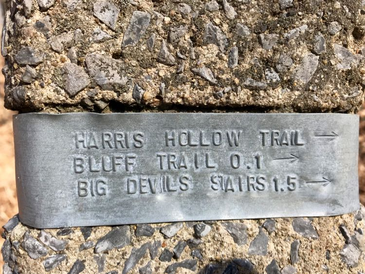 Trail marker Big Devils Stairs hike Shenandoah Virginia