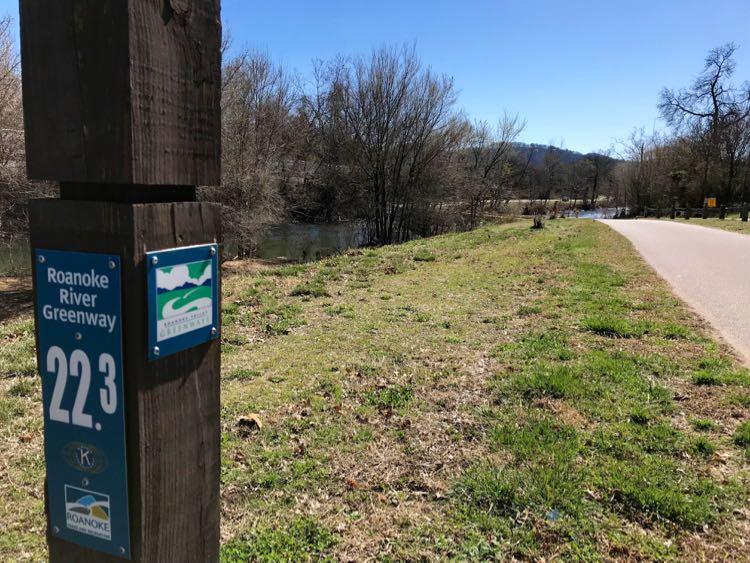 Roanoke Valley Greenways bike trail in Roanoke VA