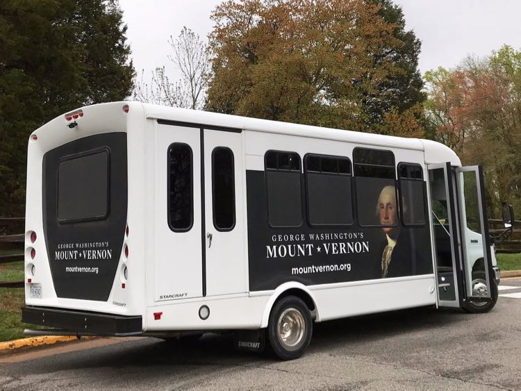 Mount Vernon shuttle at Washington's Distillery and Gristmill