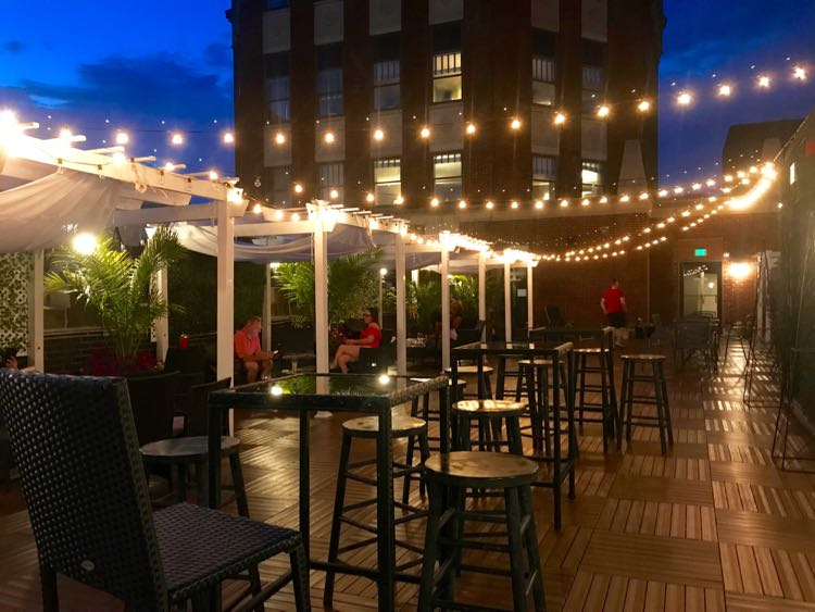 LB Skybar at night Lord Baltimore Hotel in Maryland