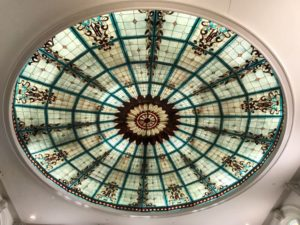 Palm Court stained glass ceiling at the Jefferson Hotel Richmond VA