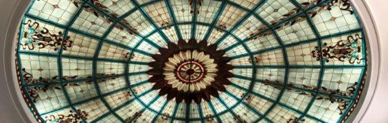 Rotunda Lobby stained glass ceiling at the Jefferson Hotel Richmond VA