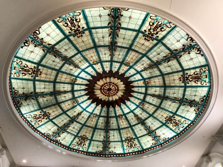 Rotunda Lobby stained glass ceiling at the Jefferson Hotel Richmond VA