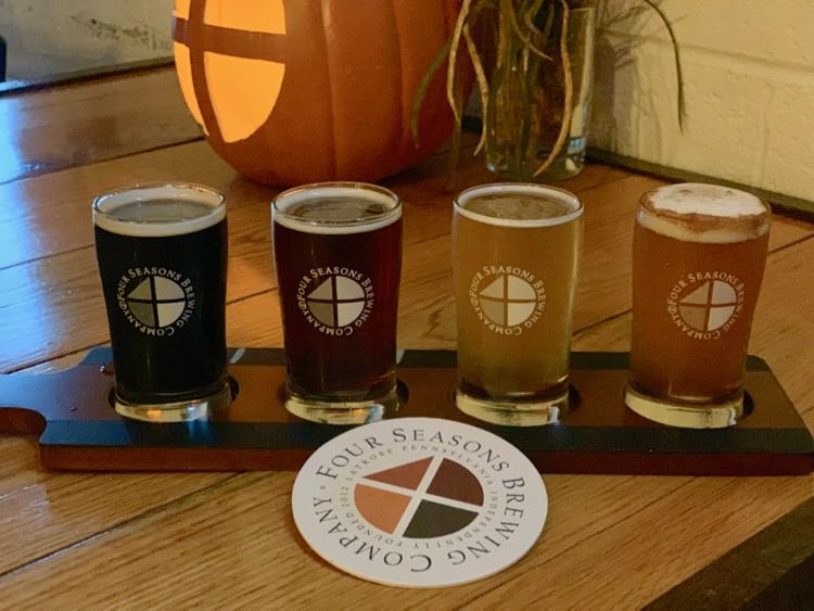 Sampling craft beer at Four Seasons Brewing on the Laurel Highlands Pour Tour