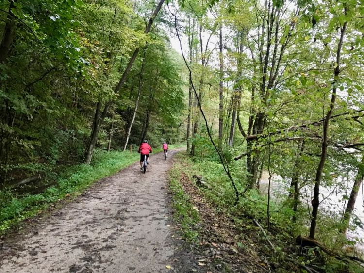 The scenic Great Allegheny Passage Bike Trail (GAP) in Laurel Highlands PA