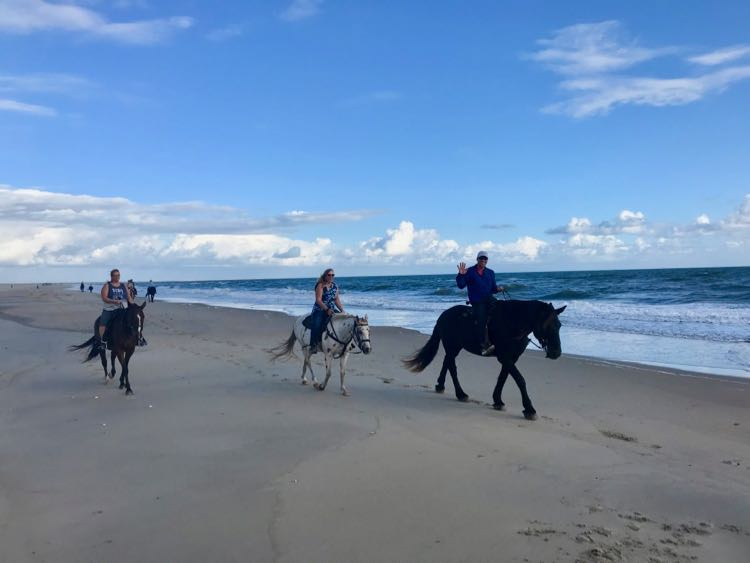 Beach horseback ride on the Outer Banks with Equine Adventures
