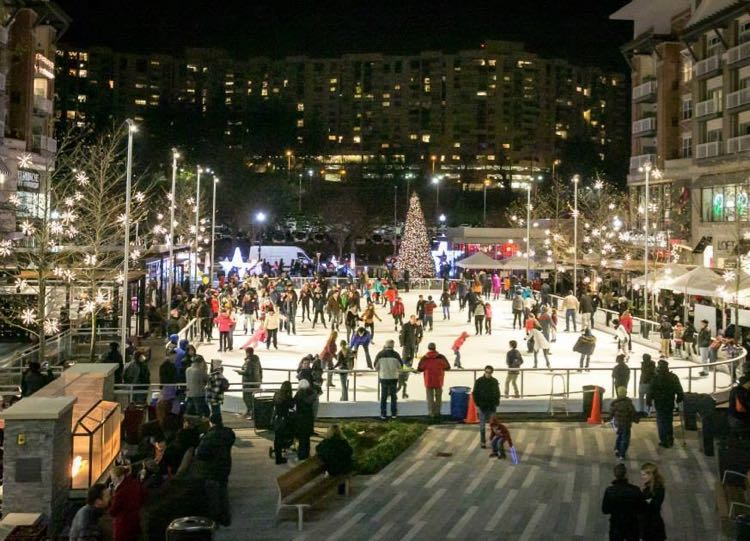Pentagon Row ice skating rink in Arlington VA