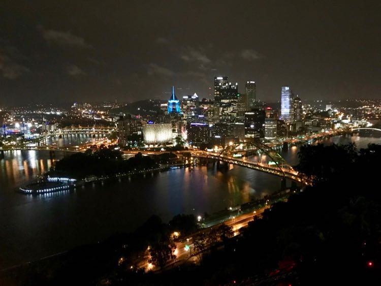 Pittsburgh PA night skyline from the Duquesne Incline