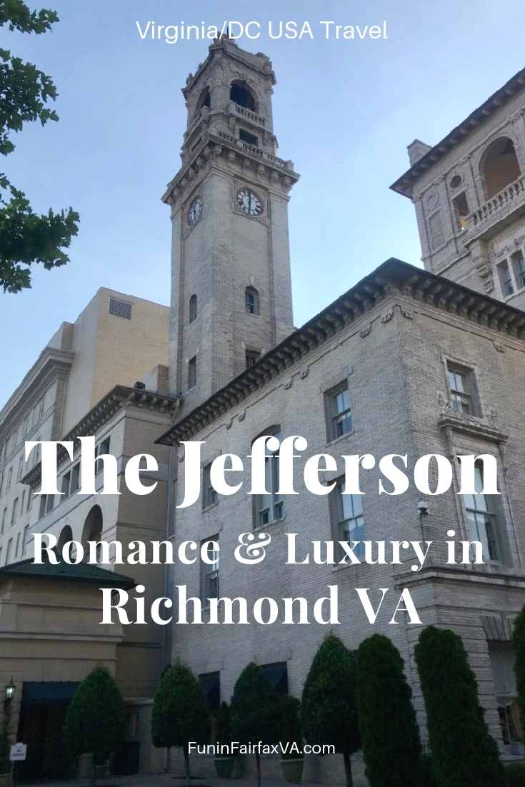 Enjoy 5-star luxury and elegance at The Jefferson hotel in Richmond Virginia, perfect for a romantic getaway to Virginia's hip capital city.