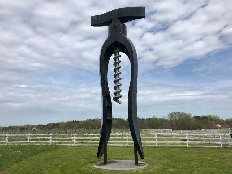 Giant corkscrew at Dog and Oyster in Virginia's River Realm